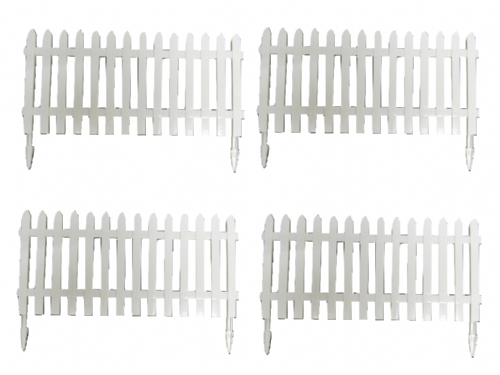 Plastic Picket Fence Panels x4  - White Decoration Miniature Garden